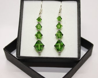 Sterling Silver graduated Bicone drop earrings made with Swarovski® Crystals - Fern Green