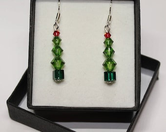 Sterling Silver graduated Bicone 'Christmas Tree' earrings made with Swarovski® Crystals - Fern green, scarlet and emerald