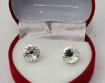 Sterling Silver Rivoli style stud earrings made with Swarovski® Crystals - Crystal - more colour options are available