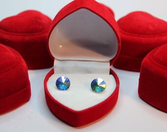 Sterling Silver Rivoli style stud earrings made with Swarovski® Crystal - Aurore Boreale - more colour options are available