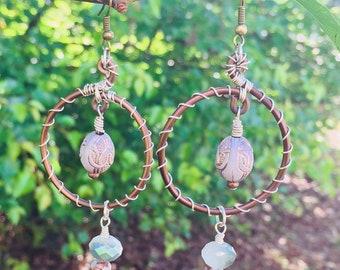 Bronze Silver Wire Wrapped Dangle Hoop Earrings