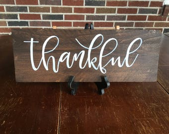 Thankful Wood Sign, Fall Sign, Fall Decor