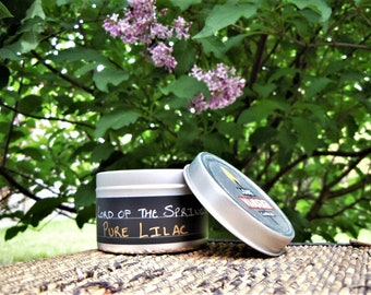 Pure Lilac - 4 oz  Soy Candle in Metal Travel Tin with Lid - Lord of The Springs