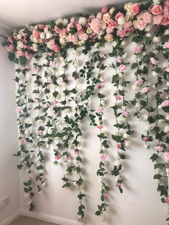 Flower Garland Flower Wall Floral Garland Wedding Wall Etsy