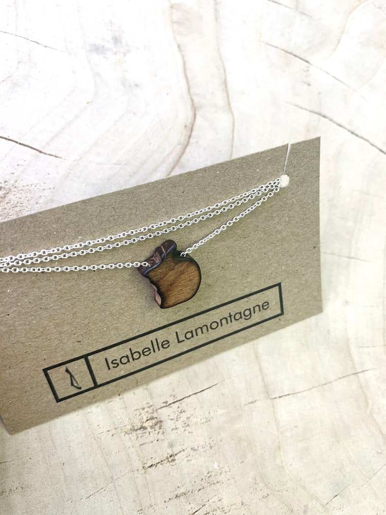 English or French Recovered Wooden Necklace Apple Women Simple Teacher Gift Thank you for putting your heart into teaching