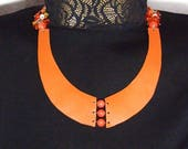 Orange handmade leather n...