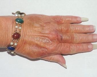"""Vintage EstateMulti Scarab Bracelet 1/20 12k Gold Filled 15.20 Grams 7.5"""""""