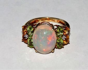 Vintage Estate10k Yellow Gold Fiery Opal Peridot CitrineDiamond Ring 3.98 Grams 5 cts. Size 5.25