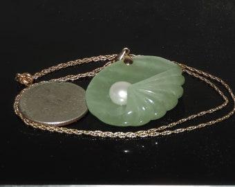 "Vintage Estate 14k Carved Shell Shaped Green Jade Pearl Necklace 17.25 Grams 18"""