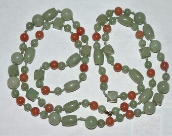 "Vintage EstateSingle Strand 6 To 12 mm Green Brown Jade Beads Necklace 64.63 Grams 38"""