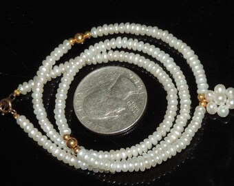 Vintage Estate 18k Yellow Gold Clasp & Beads 3.5mm Sead Pearl 4mm Pearl Cluster Necklace 8.59 Grams 17""