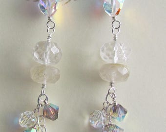 Earrings Handmade Sparkle Crystals Rutilated Quartz Special Occasions
