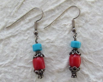 Red Coral Turquoise Bali Beads Sterling Silver earrings