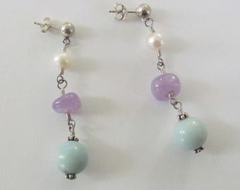 Purple Amethyst Mint Green Amazonite Freshwater Pearls Gemstone Sterling Silver Earrings