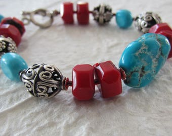 Red Bamboo Coral Deep Blue Turquoise Bali Sterling Silver Handmade Beaded Natural Gemstone Bracelet