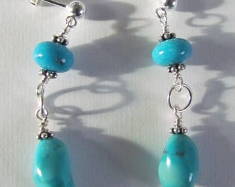 Natural authentic turquoise sterling silver handmade dangle post earrings