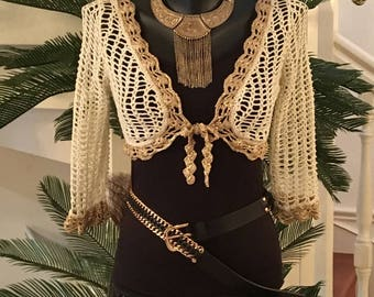 Ecru and gold crochet Bolero