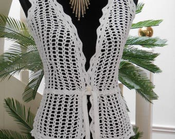 White crochet sleeveless jacket