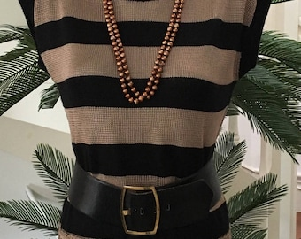 Taupe color and black striped sweater