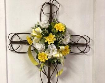 Made To Order Religious Cemetery Memorial Grapevine Cross Grave Marker Memorial Cross, Cemetery Flowers, Grave Flowers, Cross with flowers