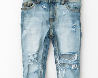 ATU Light Wash Distressed Denim skinny jeans acid washed frayed pants ripped hip hop