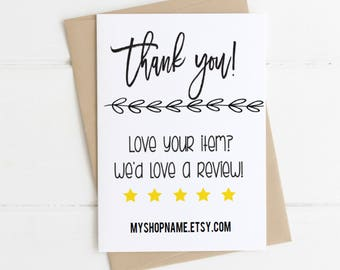 Shop Review Cards Etsy