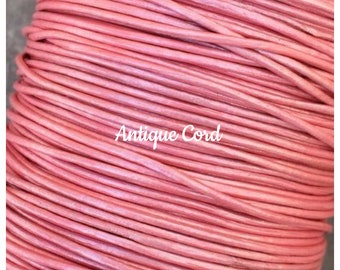 08 2mm Genuine Leather Round Cord 5 feet Fuchsia Pink Leather Cord - USA Seller