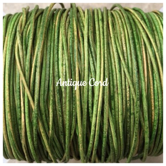 25g 1mm 1.5mm 2mm Natural Dye Green Leather Round Cord Distressed Green