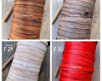 10mm x 1mm Premium Genuine Flat Leather Cord Antique Cord 10mm Width Flat Lace By The Yard Distressed Flat Lace 18 color choices