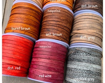 5mm Premium Genuine Flat Leather Cord Antique 5.0 mm x 1.0 mm Flat Lace By The Yard Distressed Flat Lace 20 color choices