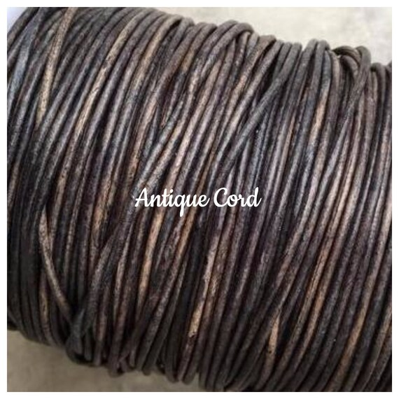 not painted 1.5mm leather cords Distressed Matte Black Round Genuine 1.5mm LEATHER Cord Dyed
