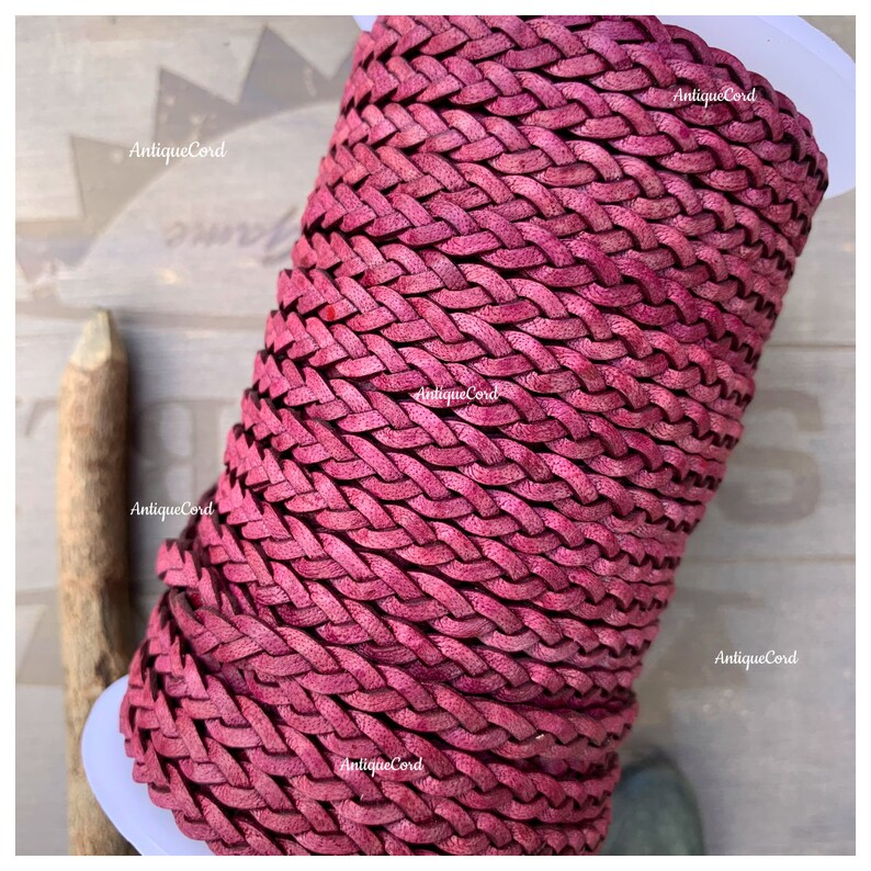 5mm Premium Genuine Flat Braided Leather Red Wine 5.0 mm Turkey Red Beading Lace FB31
