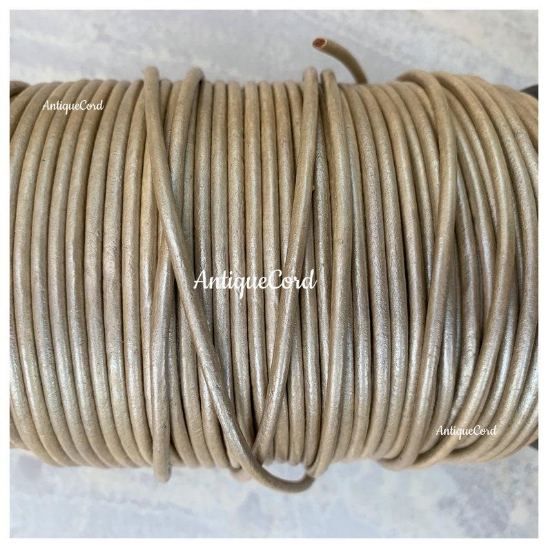 3mm Metallic Vanilla Round Leather Round cord Metallic Vintage Champaign gm302