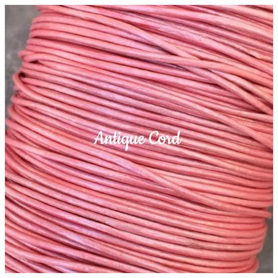 1mm 1.5mm 2mm Metallic Meganta Round Leather Cord Premium Metallic Pink Cord 39