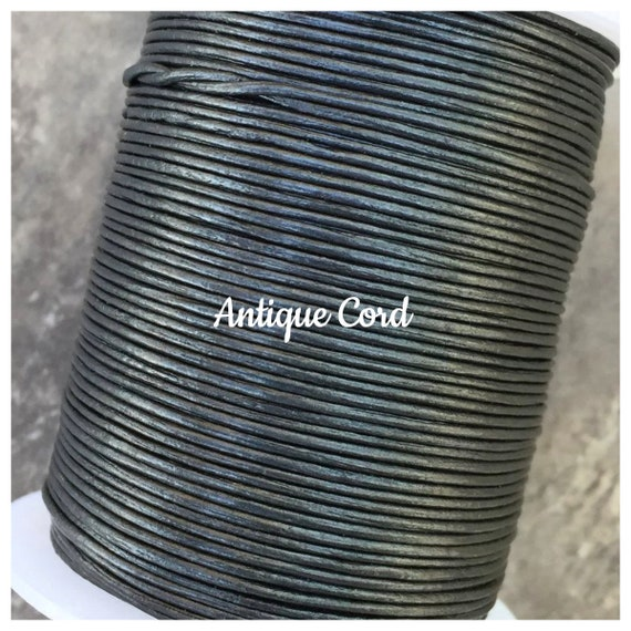 11 yards Gunmetal Metallic Gray Round Leather Cord 2mm 10 meters