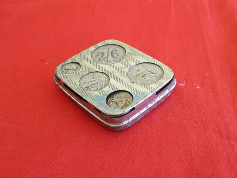 AntiqueVintage Silver Plated Chatelaine Coin Holder with Coins