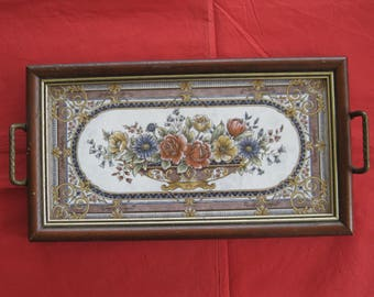 Vintage Victorian Style Tiled Wooden Tea Tray