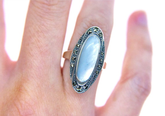 Vintage Sterling Silver Mother-of-Pearl & Marcasit