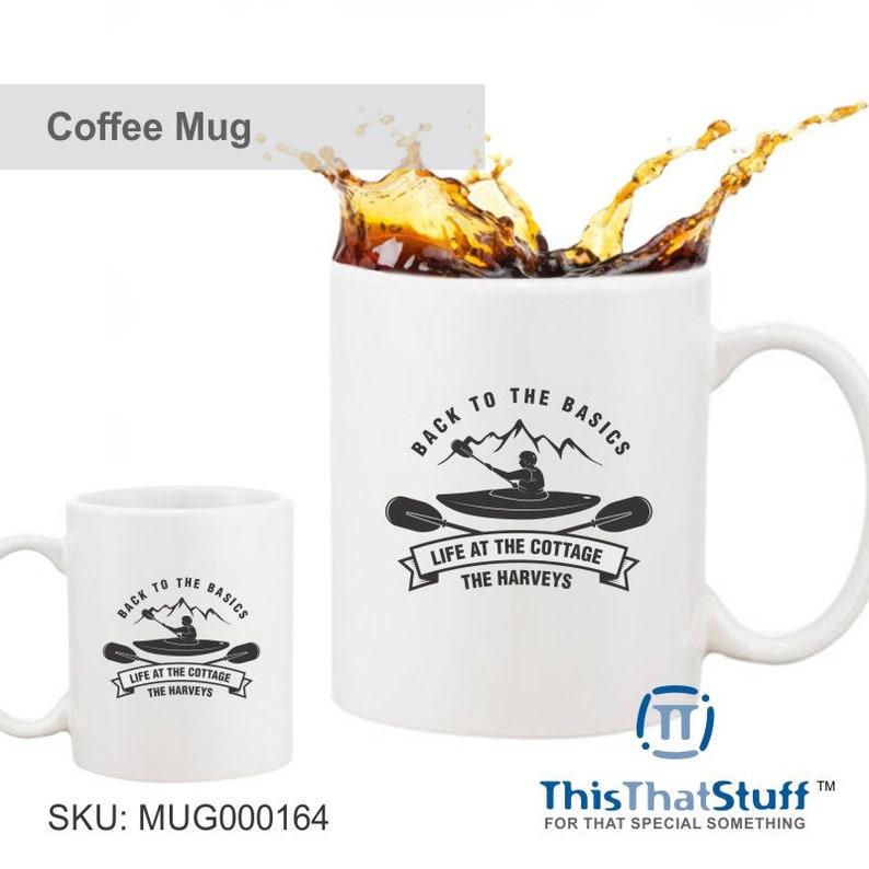 Custom Printed Coffee Mug  Back To The Basics  Kayak image 0