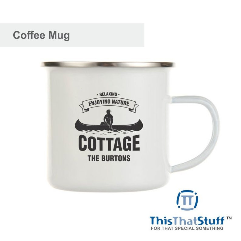Custom Printed Metal Enamel Coffee Mug  Cottage Designs image 0