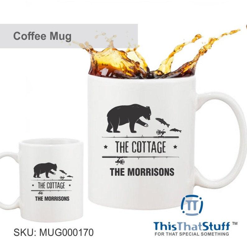 Custom Printed Coffee Mug  The Cottage  Bear Fishing image 0