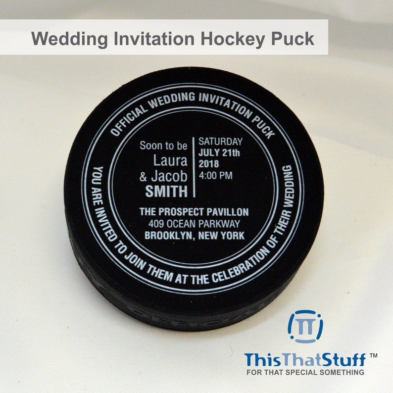 Wedding Invitation Official Hockey Pucks for the ultimate image 0