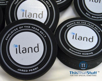Corporate Custom Designed  Hockey Puck |  Printed on an Official Weight and Size Regulated Puck