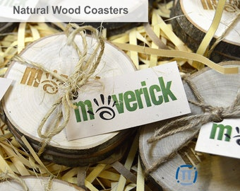 Business | Custom Engraved Natural Wood Coasters on Tree Bark | For Corporations