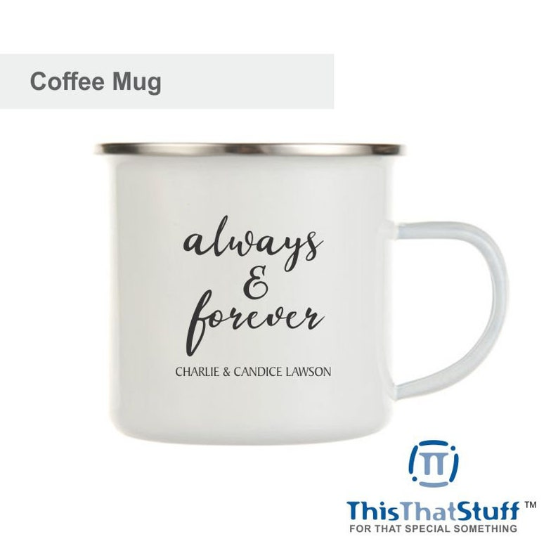 Custom Printed Metal Enamel Coffee Mug  For Couples image 0