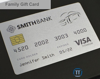 Custom Printed Family Metal Gift Cards | Credit Card Sized | Aluminium for Graduation, Birthdays and Special Events