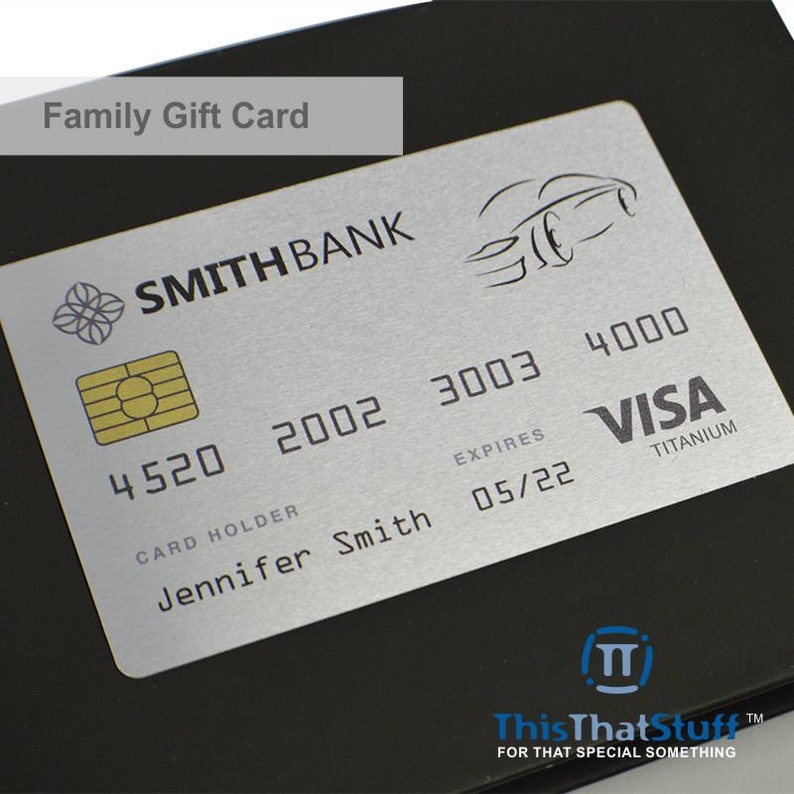 Custom Printed Family Metal Gift Cards  Credit Card Sized  image 0