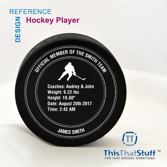 Personalized Puck Birth Stat Hockey Coach Gift Hockey Team Pillow Hockey Puck Name Personalized Puck Custom Hockey Puck