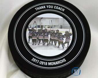 Thank you Coach | Custom Designed and Printed Official Hockey Puck for Any Event
