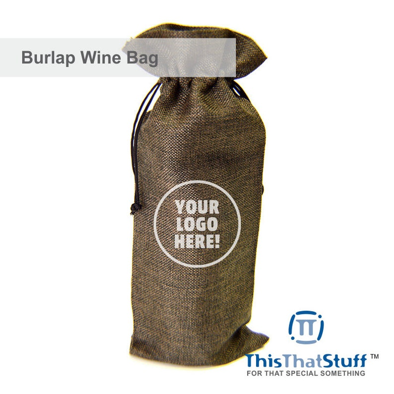 Custom Printed Burlap Wine Bag  For Weddings Celebrations image 0